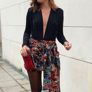 Zara Multicolored Sequin Mini Skirt NWT